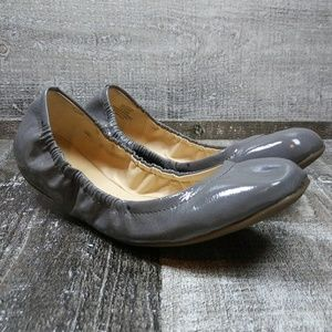 NINE WEST Gray Patented Leather Flat Shoes 7.5 M